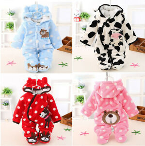 Newborn Infant Boy Girls Winter Warm Hooded Jumpsuit Baby Romper Clothes Outfits