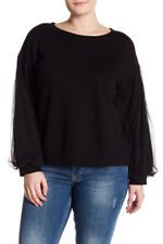 Melrose and Market Women's Plus Size 2X Black Mesh Sleeved Sweatshirt NWT