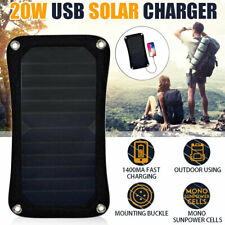 20W Solar Panel 5V USB Weatherproof Battery Car Charger Camping Home Outdoor
