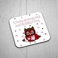 Personalised Square Coaster - Love Owl