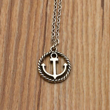 NEW Sailor Boat Pendant Anchor Rope Charm Silver Necklace Chain Fashion Jewelry