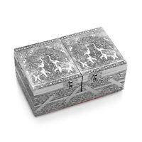 Aluminium Oxidized Elephant Embossed 2 Tier Jewelry Organizer Box Storage