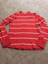 Hollister Men's Orange And White Striped Longsleeved Top Medium