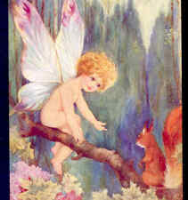 SCARCE...CUTE FAIRY IN TREE COAXES SQUIRREL TO BE FRIENDS,TUCK VINTAGE POSTCARD