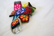 Funky colorful wool belt, Floral Handmade in Peru. Like Pistil brand