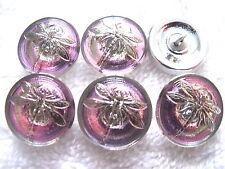"""CZECH GLASS BUTTONS (6 pcs)18mm -11/16"""" DRAGONFLY/PLATINUM US-DS 004"""