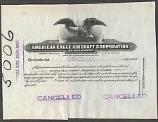 """Amer. Eagle Aircraft Corp."" Of Delaware Common Stock Proof Cert. Rare Bn7082"