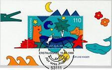 BRD 1998: Für-uns-Kinder-Block Nr. 42 mit dem Bonner Ersttagsstempel! 1A 1605