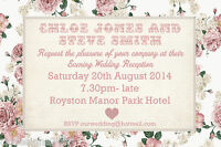 Vintage Shabby Chic Personalised Wedding Day or Evening Invitations Invites