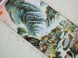 CHINESE BAMBOO CANE FENG SHUI WALL HANGING SCROLL PICTURE LANDSCAPE VILLAGE 1-6