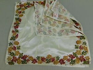 Thanksgiving Tableware, Set of 4 Ivory Printed Fall Leaves Napkins 18-Inch #5702