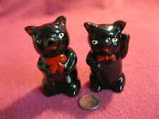 Vintage Black Pig Red Ribbon Salt and Pepper Shakers Redware 2A