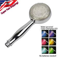 NEW Color Changing LED Rainfall Shower Head Handheld Chrome Mood Light Bathroom