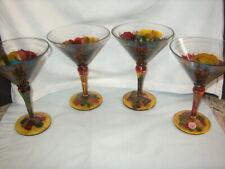 MARTINI GLASSES (4) ART GLASS MADE IN ROMANIA BEAUTIFUL MULTI-COLOR W/GOLD NICE'