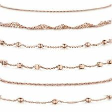Amberta Rose Plated on 925 Sterling Silver Adjustable Ankle Bracelet Women Chain