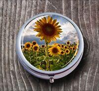 FLOWERS SUNFLOWERS MEADOW LANDSCAPE DESIGN PILL BOX ROUND METAL -ghj8Z