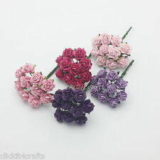 100 Mini Paper Flowers Wedding Rose Doll House Gift Basket Craft Supply R2-604