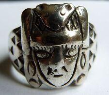 Peru Sterling Silver BIKER RING Size 10 1/2 Shaman in Animal Headdress