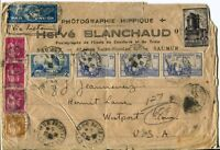 SAUMUR France to Westport USA Airmail Cover RF PAR AVION Stamps Postage