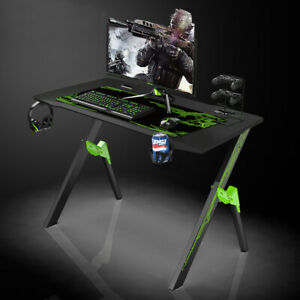 Gaming Desk Home Office Computer Table with Holder Cable Box Headphones Hook
