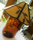 Candle ? Lamp Amber Color Glass Base & Heavier Leaf Copper Tn Panel Shade