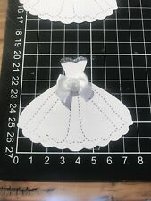 "Scrapbooking Die cut White Wedding Dress With Bows Shape "" X 3"