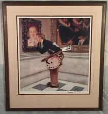 "Vintage Framed Norman Rockwell ""The Critic"" Art Hand SIGNED Print Black Ink"