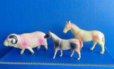 3 VINTAGE CELLULOID TOY ANIMALS- RAM & 2 HORSES