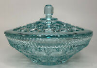 Vintage Indiana Pressed Glass Candy Dish w Lid Windsor Button Aqua Green Blue