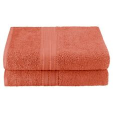 Set of 2 Coral Ring Spun Combed Cotton Soft and Absorbent Bath Sheet Towels