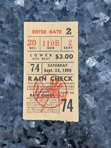 1950 NEW YORK YANKEES VS BOSTON RED SOX BASEBALL TICKET STUB SEPTEMBER 23
