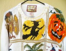 VTG HALLOWEEN SZ M L XL OWL CAT UGLY HAPPY SAD PUMPKIN BROOM WITCH SWEATER WOMEN