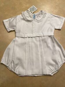 NWT Feltman Brothers Layette (0-3 Months) Boys White Bubble Romper Outfit