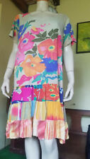 Vtg Jams World HATTIE Paper Butterfly Rayon Hawaiian Floral Ruffle Mini Dress XL
