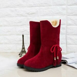 New Santa Claus Cotton Boot Winter New Round Toe Flat Suede Ankle Boots Oversize