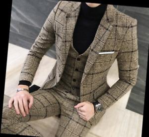 Mens Wool Blend Tweed Tartan Suit 3 Pieces Jacket Blazer Waistcoat Trousers