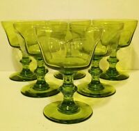 """Lenox Champagne Glasses Tall Sherbet Antique Green 5 1/8"""" Set of 6 Six Sided"""