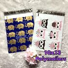 100 Designer Printed Poly Mailers 10X13 Shipping Envelopes Bags ELEPHANT OWLS