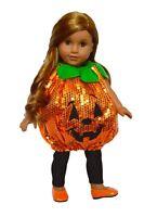 Sequin Pumpkin Halloween Costume  for 18 Inch American Girl Dolls