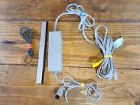 Genuine Official Nintendo Wii AC Power Adapter, AV Cable, and Sensor Bar Bundle.