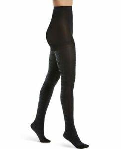 Tights Women's Hue Luster Croc-Embossed Black Size M/L