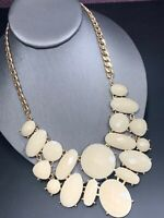 Gold Bohemian Bib Bold Statement Necklace Large Cream Color Gold  Cabochons 18""