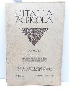L'Italia agricola febbraio 1929 Federazione italiana consorzi agrari Piacenza