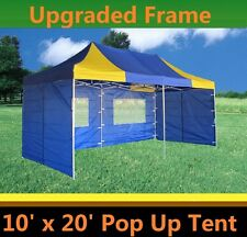 10'x20' Pop Up Canopy Party Tent - Blue Yellow - F Model Upgraded Frame