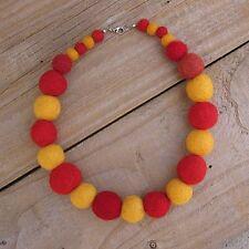 Collana Di Feltro-fatto a mano rosso e giallo palline di feltro di lana tessuto Collana Brillante