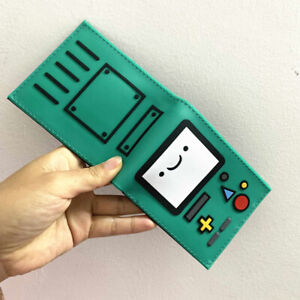 Adventure Time bmo short Wallet PVC Bi-fold ID card holder zipper coin Purse