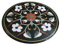 "15"" Black Marble Coffee Center Table Top Mosaic Inlay Floral"