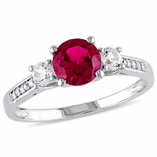 Amour 10k White Gold Created Ruby and Created White Sapphire w/Diamond Ring
