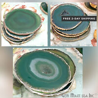 UK/_ Faux Agate Slice Geode Cup Mat Stone  Beverage Pad Table Decor Surpri