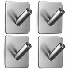4PCS 304 Stainless Steel Hooks,Adhesive Wall Kitchen Towel Robe Coat Hanger Key